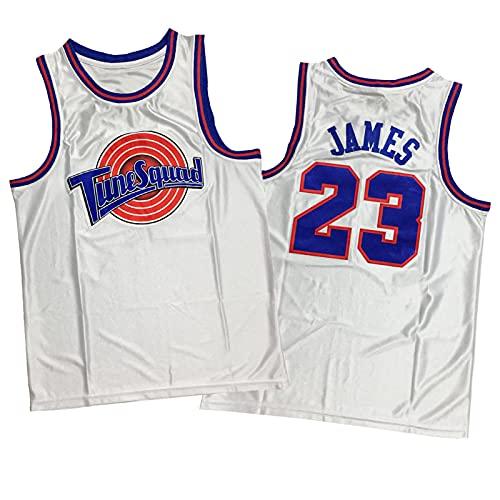 Movie Slam Dunk - Camiseta de baloncesto para hombre 23 # Lakers James, camiseta de baloncesto retro bordada, transpirable y de secado rápido, suave y suave, color blanco