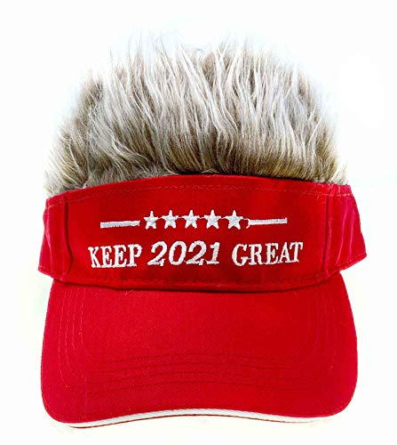 Adult Novelty Sun Visor Cap with Spiked Hairs Wig Peaked Adjustable Baseball Hat Fake Hair (Red 2021 Brown)