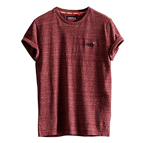 Superdry Herren OL Vintage Embroidery Tee Freizeithemd, Rot (Brick Red Space Dye 0ZK), Large