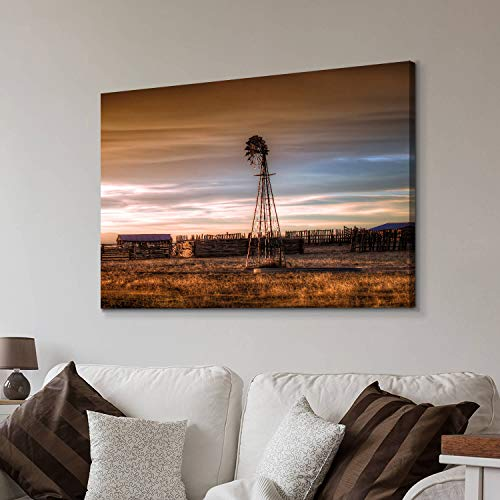 Hardy Gallery Windmill Artwork Rustic Landscape Picture: Farmhouse Painting Wall Art Print on Canvas for Living Room (45…