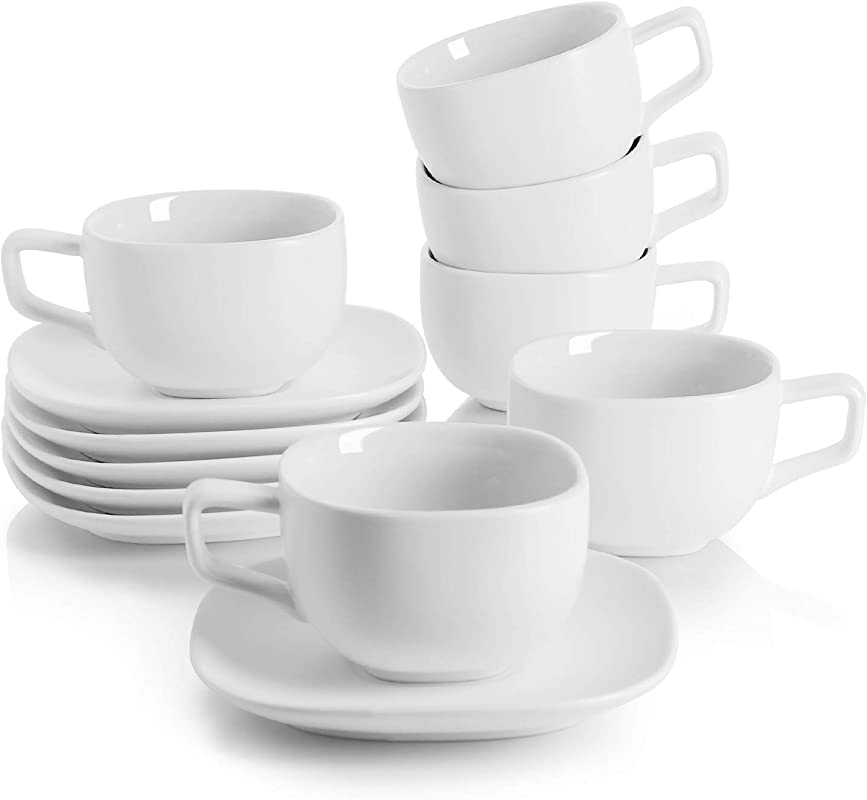 Teocera Porcelain Cappuccino Cups With Saucers 8 Ounce For Specialty Coffee Drinks Cappuccino And Tea Set Of 6 White