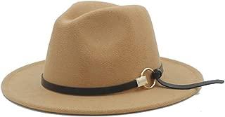 Fedora Cap Men Women Winter Fedora Hat for Outdoor Travel Casual Church Hat Pop Wide Brim Hat Adult Jazz Hat Size 56-58CM Felt hat (Color : Khaki, Size : 56-58)