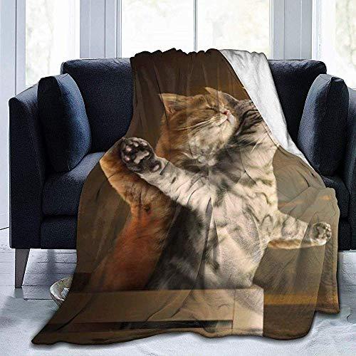Lustige süße Katze Titanic Action Sea Sky Fleece Decke Flanell Plüsch Decke Fuzzy Soft Decke Mikrofaser für Couch Schlafsofa, 102X127 cm