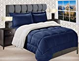 Elegant Comfort Premium Quality Heavy Weight Micromink Sherpa-Backing Reversible Down Alternative Micro-Suede 3-Piece Comforter Set, Queen, Navy Blue