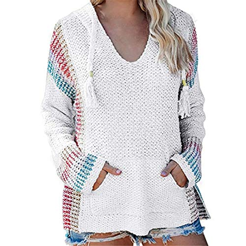 SEXOX Womens Striped Knit Tank Tops Casual Sleeveless Cami Blouse Shirts Ladies Loose Long Sleeve Sweater Jumper Pullover Casual Oversize V Neck