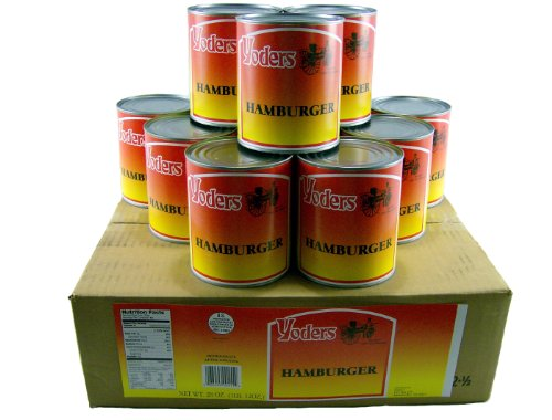 Yoders Canned Hamburger Ground Beef Case 12 Cans