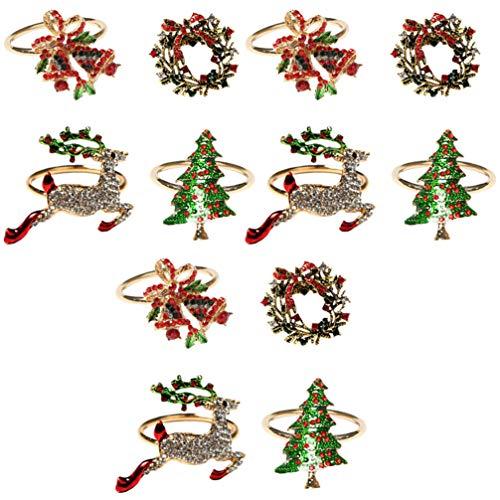 KESYOO 12Pcs Fechos de Guardanapo de Natal Guardanapo de Strass Fivelas Anéis de Guardanapo de Liga para Festas de Casamento de Natal Decoração de Jantares