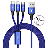 Micro usb ケーブル/Type c/ライトニング 【3in1】 充電ケーブル 3A急速充電 高速データ転送対応 小型ヘッド設計 iphone android type-c 同時給電可 1.2m (ブルー)