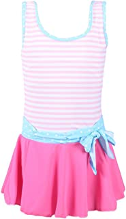 QRH Big Girls Poptical Stripes Sport Splice 1 Piece Swimsuit