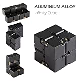 Infinity Cube Fidget Toy, EDC Fidgeting Game for Kids and Adults, Infinite Cool Gadget, Stress Relief Fidget Cube for Adult & Kids, Fidget Toy for Working or Studying, Aluminium (Black)