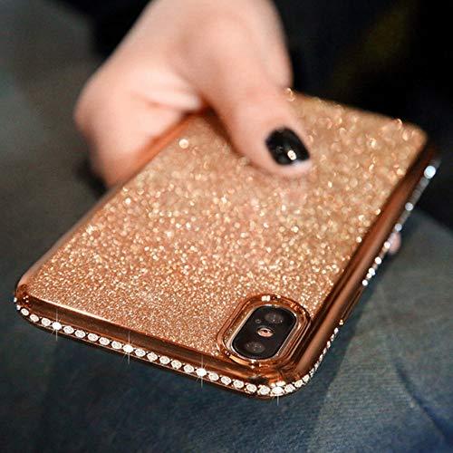 Funda de teléfono suave con brillo de diamante para iPhone SE 2020 11 Pro X XR XS MAX 6 6s 7 8 Plus Funda trasera de TPU de silicona con diamantes de imitación brillante, oro rosa, para iphone 6