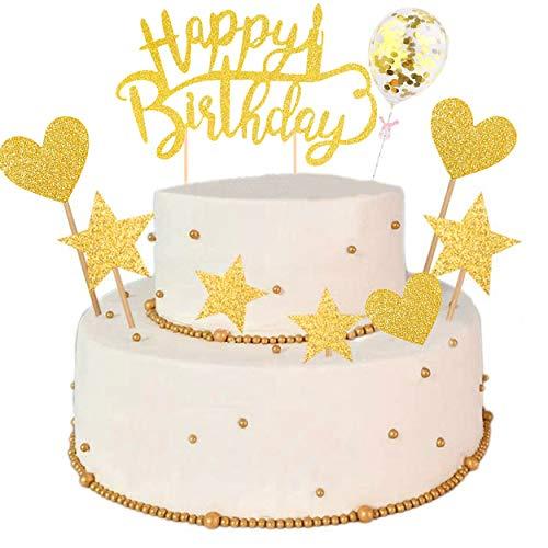 QIMMU 15 Stück Tortendeko Cake Topper,Tortendeko Geburtstag Gold,Happy Birthday Kuchendeko,Glitter Cake Topper Happy Birthday,Cupcake Topper mit Sternen Liebe Konfetti-Luftballons