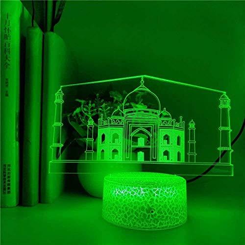 tian tian baby Niños 3D Touch Luz de Noche Lámpara de ilusión óptica Taj Mahal Palace Luz de Noche 3D LED Lámpara pequeña Escritorio Dormitorio Regalos románticos Estudio de Control
