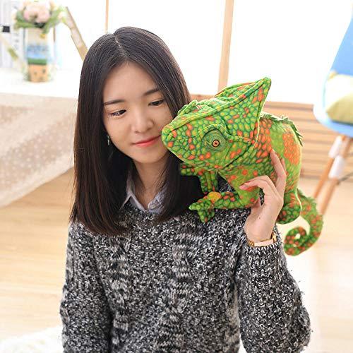 JMKHY boys and girls birthday Lizards doll pillow creative personality simulation spoof smile chameleon plush toys 80cm -green_orange