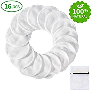 MelodySusie Makeup Remover Pads 16 Packs, Washable Reusable Organic Bamboo Cotton Rounds Toner Pads Sponge Facial Cleansers with Laundry Bag for Women
