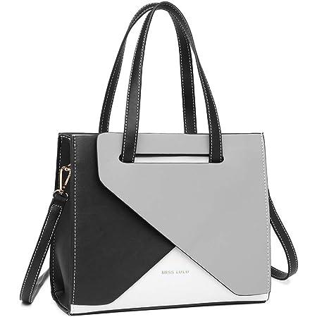 Miss Lulu Handtasche für Frauen Mode Umhängetasche Prägnante Farbstiche Schultertasche (Grau)