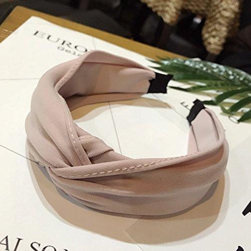 OuYou Diademas de Pelo Anchas de Nudo Bandas para la Cabeza Turbantes para Mujer Diadema Para Mujer Niña Accesorio de Pelo (Rosa)