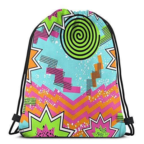 OPLKJ Gym Kordelzug Taschen, Retro 80er Jahre Hintergrund Tasche Rucksack Sackpack für Studenten Gym Sack Tasche zum Wandern Yoga Sneakers Aufbewahrungstasche