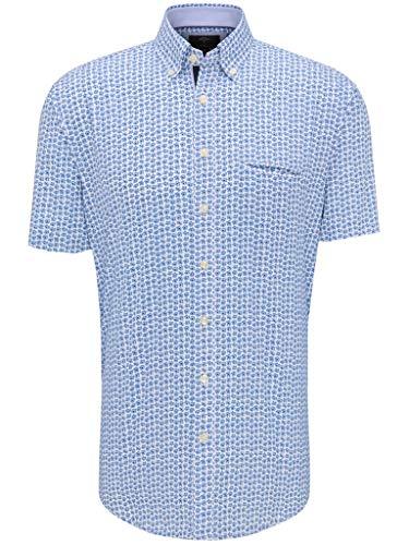 FYNCH-HATTON Chemise de loisirs à manches courtes pour homme Blue Summer Story avec col boutonné - Multicolore - X-Large