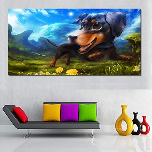 N / A Animal Picture Canvas Art Funny Dog Running Art Print on Canvas Landscape Painting And Poster Home Decoration Frameless 40x80CM