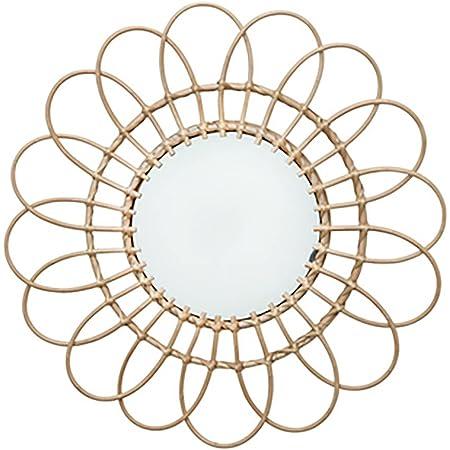 Miroir Mural DéCoratif En Rotin Avec Fleurs Pour Salon, Chambre à Coucher, Bureau 40cm Couleur AléAtoire