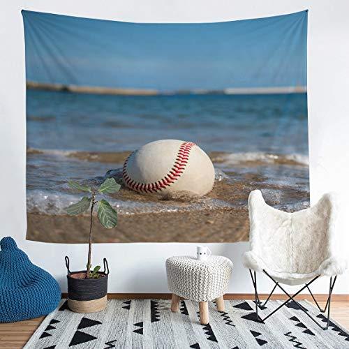 Manta de béisbol para pared, temática deportiva, para niños, niñas y niños, patrón de bola 3D, para colgar en la pared, decoración ultra suave, playa hawaiana, manta de cama extragrande, 69 x 91