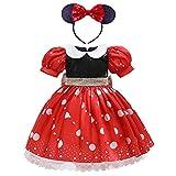 Disfraz de princesa de lunares para niños, color blanco como la nieve, para cosplay, disfraz de Halloween, carnaval con diadema para orejas