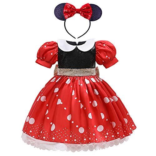 IMEKIS Disfraz de Minnie Blancanieves para nias, disfraz de princesa, cosplay, lentejuelas, lazo, tut de tul con orejas de ratn, diadema para Halloween, Navidad, carnaval, fiesta