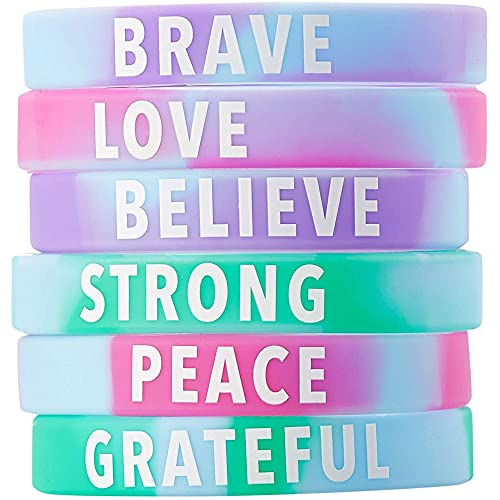 Inspirational Rubber Bracelets, Motivational Silicone Wristbands (36 Pack)