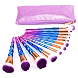 Imurz 12stück Pro Bunt Regenbogen Einhorn Unicorn Make Up Brush Set Diamant Makeup Pinsel Set...