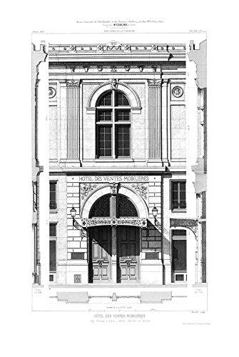 Vlies-Wandbild  Fototapete Architekturzeichnung klassische Fassade schwarzweiß