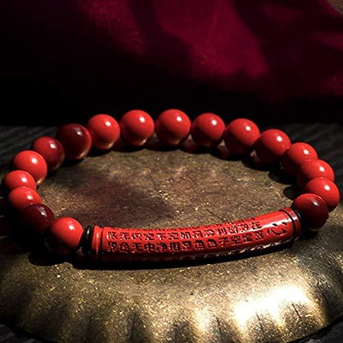 JPSOUP Brazalete de Cinnabar Feng Shui Pulsera para Mujeres Cinnabar Pulsera Cinabar Pulsera Budista Pulsera Pulsera Elástica Taller Heart Sutra Ward Off Evil Spirits, Rojo 6mm (Color : Red)