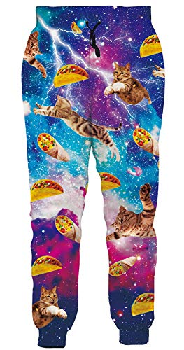 Loveternal Katzen Jogginghose Galaxy Jogginghose für Herren 3D Druck Pizza Cat Jogger Coole Hosen für Teen Jungen Mädchen L