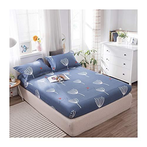 MZP Sábana Bajera Ajustable para Cama de Agua y Somie 100% algodón Suave Pequeño Floral Flores Grandes Geometría Fitted Sheet Profundo 25cm Bed Sheets (Color : Blue C, Size : 180x200cm)