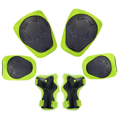 Kinder Knieschoner Set 6 in 1 Schutzausrüstung Kinder Knieschützer Ellbogenschützer Set Schutzausrüstung Set für Skateboard Radfahren Roller Skating Radfahren (Grün)