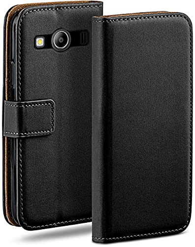moex Klapphülle kompatibel mit Samsung Galaxy Ace Style Hülle klappbar, Handyhülle mit Kartenfach, 360 Grad Flip Hülle, Vegan Leder Handytasche, Schwarz