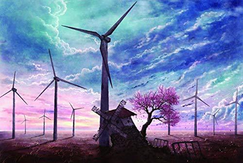 SUPERPOWER® Wunderschönen 1000 Stück Frühling Rosa Sakura Baum Kirschblüten Windmühle Foto Puzzle Kinder Pädagogisches Lernen Spielzeug Holz Intelligenz Puzzles