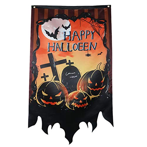 catyrre 1Pc Halloween Hanging Flag, Creepy Ghost Castle Pumpkin Friedhof Flag Banner, Garden Home Party Haunted House Scene Props Dekoration