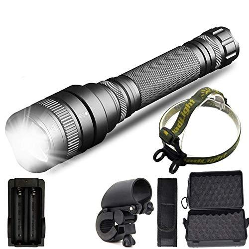 ykw Zoomable Linterna LED de gran alcance 8000lm Batería Impermeable Linterna de caza Linterna de luz (Tipo de batería: Batería de 1600 mAh)