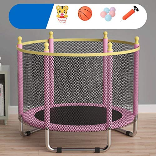 Dsrgwe Kids Trampoline 55inch Trampoline with Enclosure Net Jumping Mat and Spring Cover Padding Trampoline Jump Indoor Jumping Bed (Color : Pink)