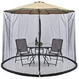LJQLXJ Mosquitera Outdoor Circular Patio Umbrella Mosquito Netting Mesh Screen with Zipper Patio Tables Picnic Net Cover,Black,300x230cm