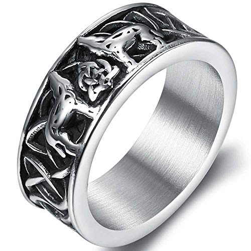 Jude Jewelers Stainless Steel Retro Vintage Style Celtic Knot Wolf Symble Wedding Band Cocktail Party Biker Ring (Silver, 14)