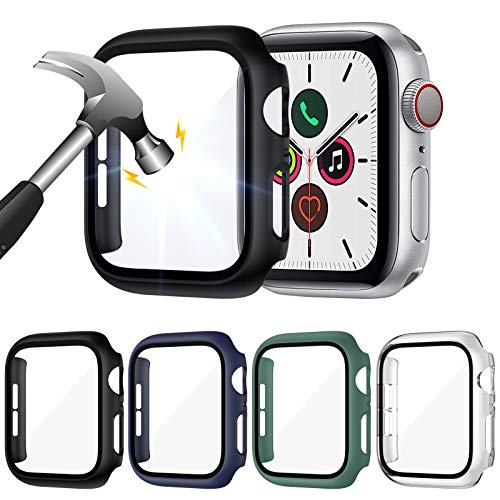 LORDSON 4-Pack Glass Screen Protector compatible with Apple Watch SE/Series 6/5 / 4 44mm, Full...
