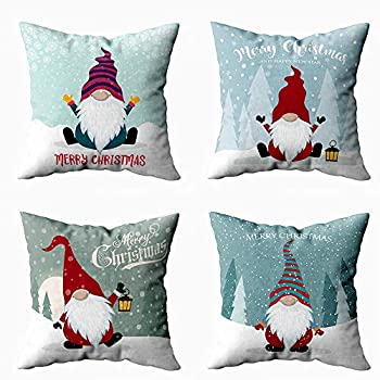 Shorping 16X16 Pillow Covers Snowflake Decorations Zippered Covers Joy Pillow Case Farmhouse Throw Pillow Covers 4Pcs Christmas Card with Cute Gnome Flat Design Scandinavian for Home Sofa Bedding