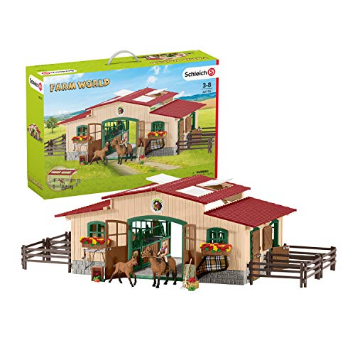 Schleich Farm World Stable with Horses and Accessories 48-piece Educational Playset for Kids Ages 3-8 Multi  22.4 x 15 x 5.5