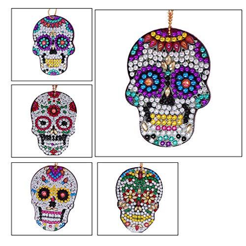 5D DIY Llaveros Pintura de Diamante 4 Piezas Calaveras Taladro Mosaico Kits Decorativos Colgante Kits de Arte de Cristal Kits de Punto de Cruz para Arte Craft Llavero Teléfono Charm Bag Decor