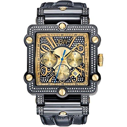 JBW Phantom Herren-Armbanduhr Diamant 46MM Armband Leder Quarz JB-6215-238-F