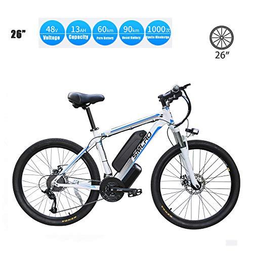 YMhome Bicicleta eléctrica, 26' Electric City E-Bici Bicicleta con 350W sin escobillas del Motor Trasero para Adultos, 36V / 13Ah batería extraíble de Litio,White Blue