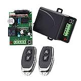 Ricevitore relè wireless universale 12V/24V DC 1CH RF switch a 433 Mhz, 2 telecomando + 1 recettore, campo di lavoro 50m-70m Adatto per prodotti leggeri/Porta garage/Cancello elettrico/Sicurezza