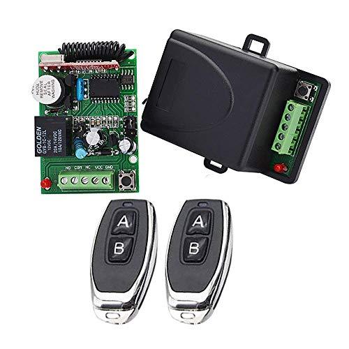 Receptor universal 12V / 24V DC 1 CH RF 433 MHz, 2 control remoto - 1 receptor, rango de 50m-70m, adecuado para luz / puerta de garaje / puerta / puerta / productos de seguridad